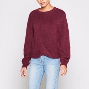 Joie Wine Colored Stevan Twist Fuzzy Sweater